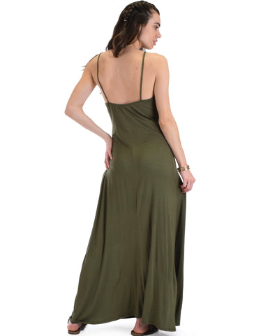 Lyss Loo Wanderlust Sweetheart Olive Shift Maxi Dress - Clothing Showroom