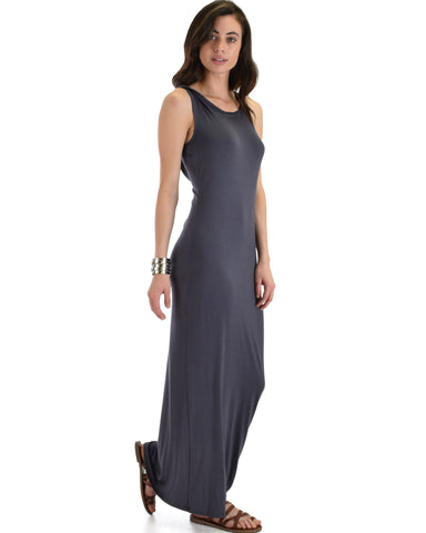 Lyss Loo Ascension Contemporary Charcoal Hooded Maxi Dress - Clothing Showroom