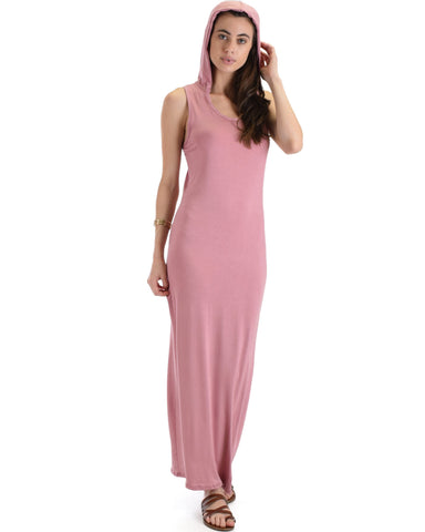 Lyss Loo Ascension Contemporary Mauve Hooded Maxi Dress - Clothing Showroom