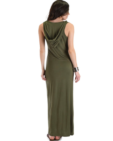 Lyss Loo Ascension Contemporary Olive Hooded Maxi Dress - Clothing Showroom