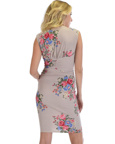 Steal A Kiss Floral V-neck Bodycon Midi Dress