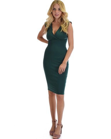 Steal A Kiss V-neck Bodycon Midi Dress