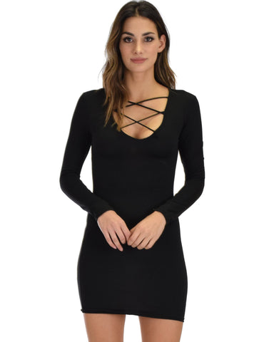 Lyss Loo Heart's Content Long Sleeve Cross Straps Black Bodycon Dress - Clothing Showroom