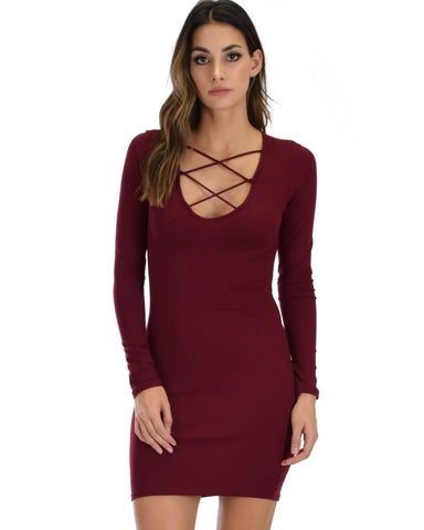 Lyss Loo Heart's Content Long Sleeve Cross Straps Burgundy Bodycon Dress - Clothing Showroom