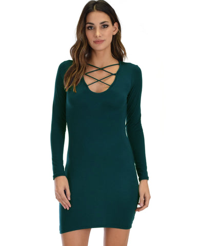 Lyss Loo Heart's Content Long Sleeve Cross Straps Green Bodycon Dress - Clothing Showroom