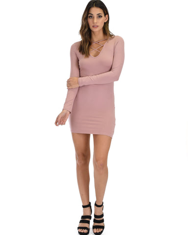 Lyss Loo Heart's Content Long Sleeve Cross Straps Mauve Bodycon Dress - Clothing Showroom