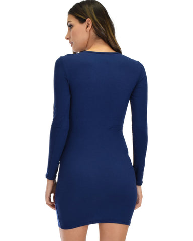 Lyss Loo Heart's Content Long Sleeve Cross Straps Navy Bodycon Dress - Clothing Showroom