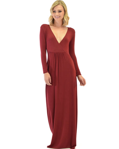 Lyss Loo Sweetest Kiss Long Sleeve Burgundy Maxi Dress - Clothing Showroom