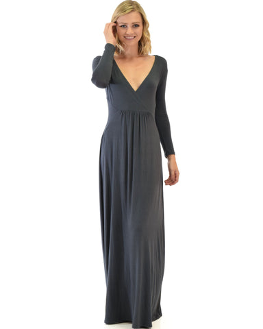 Lyss Loo Sweetest Kiss Long Sleeve Charcoal Maxi Dress - Clothing Showroom