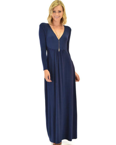 Lyss Loo Sweetest Kiss Long Sleeve Navy Maxi Dress - Clothing Showroom