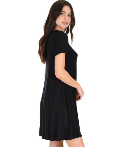 Lyss Loo Reporting For Cutie Black T-Shirt Tunic Dress - Clothing Showroom