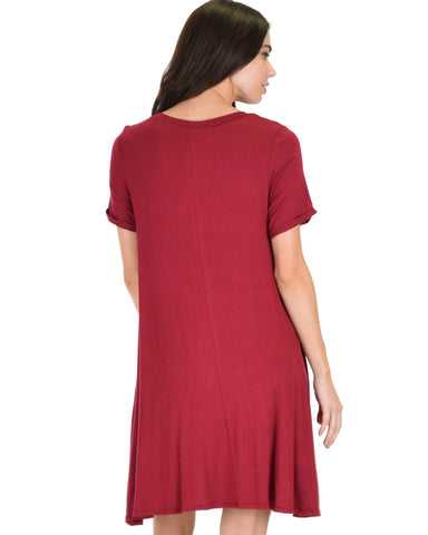 Lyss Loo Reporting For Cutie Burgundy T-Shirt Tunic Dress - Clothing Showroom