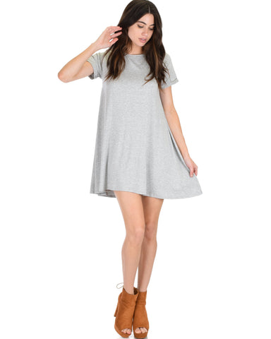 Lyss Loo Reporting For Cutie Grey T-Shirt Tunic Dress - Clothing Showroom
