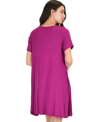 Lyss Loo Reporting For Cutie Magenta T-Shirt Tunic Dress - Clothing Showroom