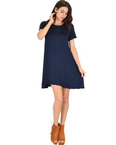 Lyss Loo Reporting For Cutie Navy T-Shirt Tunic Dress - Clothing Showroom