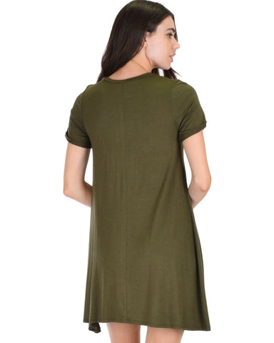 Lyss Loo Reporting For Cutie Olive T-Shirt Tunic Dress - Clothing Showroom