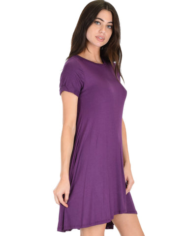 Lyss Loo Reporting For Cutie Purple T-Shirt Tunic Dress - Clothing Showroom
