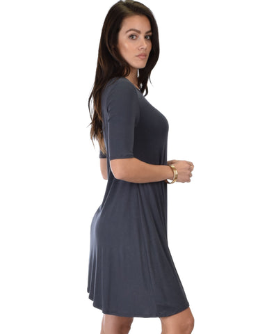 Lyss Loo Reporting For Cutie 3/4 Sleeve Charcoal T-Shirt Tunic Dress - Clothing Showroom