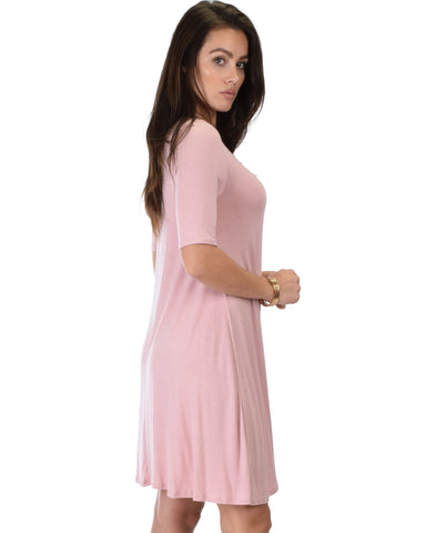 Lyss Loo Reporting For Cutie 3/4 Sleeve Mauve T-Shirt Tunic Dress - Clothing Showroom