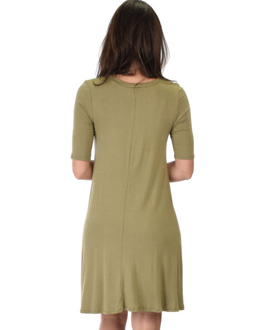 Lyss Loo Reporting For Cutie 3/4 Sleeve Olive T-Shirt Tunic Dress - Clothing Showroom