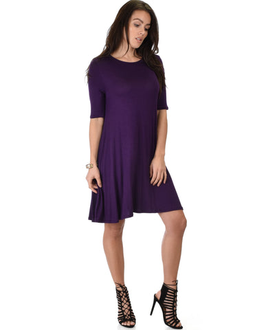 Lyss Loo Reporting For Cutie 3/4 Sleeve Purple T-Shirt Tunic Dress - Clothing Showroom