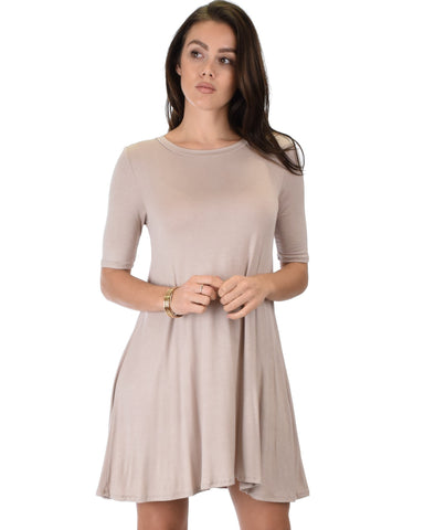 Lyss Loo Reporting For Cutie 3/4 Sleeve Taupe T-Shirt Tunic Dress - Clothing Showroom