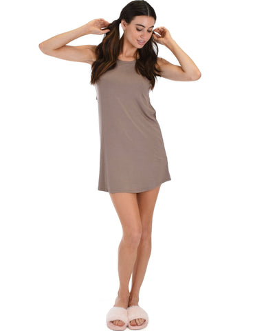 Lyss Loo All Yours Open Back Taupe Sleep Shirt - Clothing Showroom