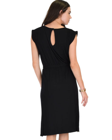 Lyss Loo My Everyday Tie Waist Black Midi Dress - Clothing Showroom