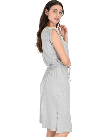 Lyss Loo My Everyday Tie Waist Grey Midi Dress - Clothing Showroom