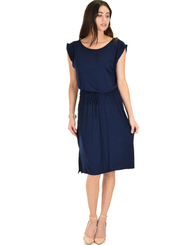 Lyss Loo My Everyday Tie Waist Navy Midi Dress - Clothing Showroom