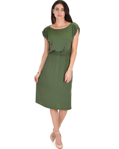 Lyss Loo My Everyday Tie Waist Olive Midi Dress - Clothing Showroom