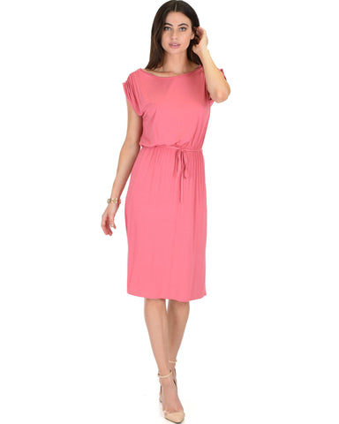 Lyss Loo My Everyday Tie Waist Pink Midi Dress - Clothing Showroom