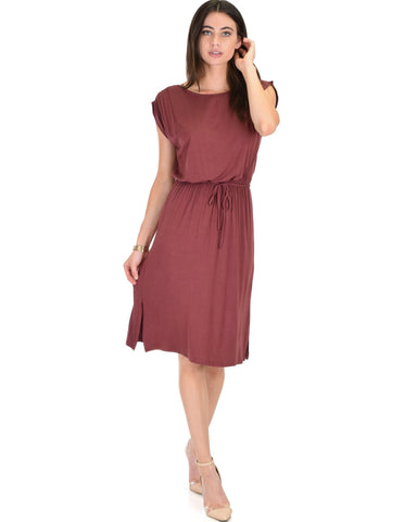 Lyss Loo My Everyday Tie Waist Marsala Midi Dress - Clothing Showroom
