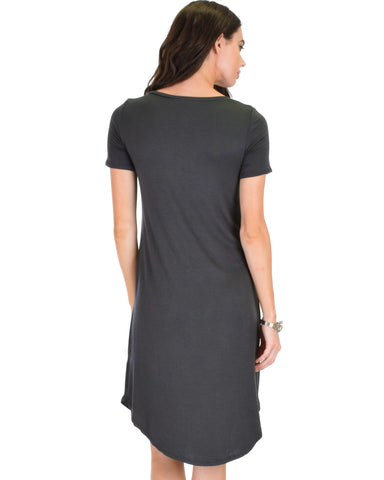 Lyss Loo Truly Madly Deep-V Neck Charcoal Sleep Dress - Clothing Showroom