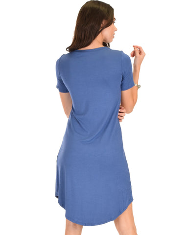 Lyss Loo Truly Madly Deep-V Neck Blue Sleep Dress - Clothing Showroom