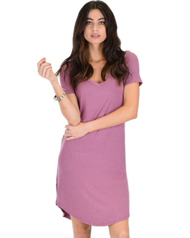 Lyss Loo Truly Madly Deep-V Neck Mauve Sleep Dress - Clothing Showroom