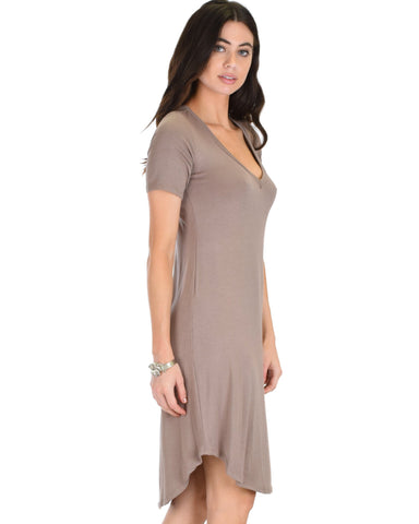 Lyss Loo Truly Madly Deep-V Neck Taupe Sleep Dress - Clothing Showroom