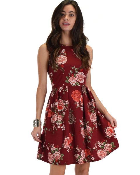 I'm Smitten Floral Skater Dress With Pockets