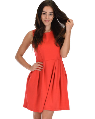 Lyss Loo I'm Smitten Coral Skater Dress With Pockets - Clothing Showroom