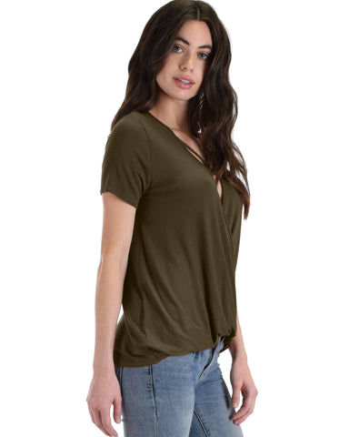 Sweeter Than Sugar Olive Cross Straps Short Sleeve Top - Clothing Showroom