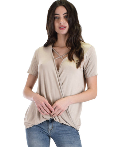 Sweeter Than Sugar Cream Cross Straps Short Sleeve Top - Clothing Showroom