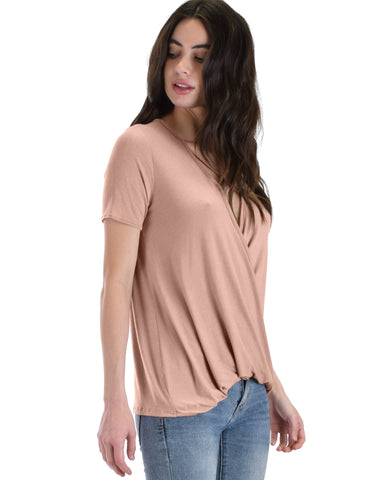 Sweeter Than Sugar Blush Cross Straps Short Sleeve Top - Clothing Showroom