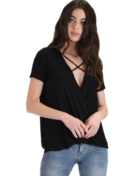Sweeter Than Sugar Black Cross Straps Short Sleeve Top - Clothing Showroom