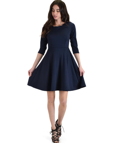 Lyss Loo So Good Navy Scallop Neck Line Skater Dress - Clothing Showroom