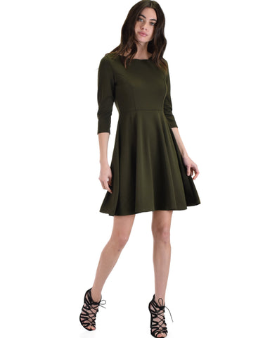Lyss Loo So Good Olive Scallop Neck Line Skater Dress - Clothing Showroom