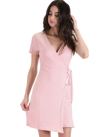Lyss Loo Don't Tell 'Em Rose Wrap Dress - Clothing Showroom