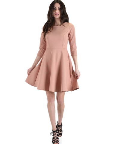 Lyss Loo So Good Rose Scallop Neck Line Skater Dress - Clothing Showroom