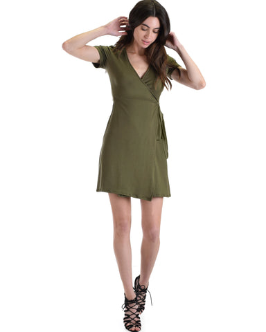 Lyss Loo Don't Tell 'Em Olive Wrap Dress - Clothing Showroom