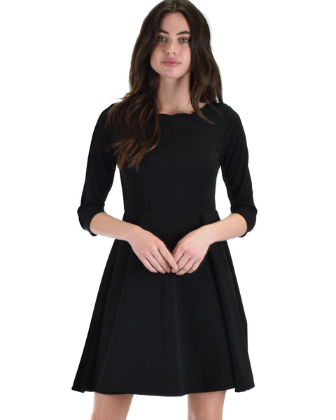 Lyss Loo So Good Black Scallop Neck Line Skater Dress - Clothing Showroom
