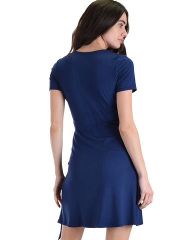 Lyss Loo Don't Tell 'Em Navy Wrap Dress - Clothing Showroom
